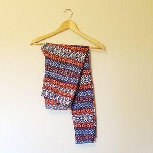 Lularoe Tall & Curvy Orange & Blue Leggings